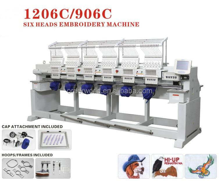6 heads wonyo computerized embrodiery machine is as good as maya/dahao embroidery machine