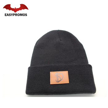 a7a84c4add2 Leather Patch Wholesale Merino Wool Beanie Custom Beanie Hats for Winter