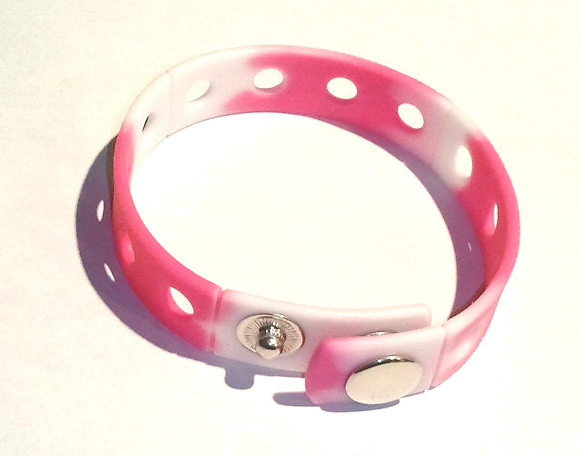 """8"""" Pink and White Rubber Bracelet Wristband for Shoe Jibbitz Crocs Charms"""