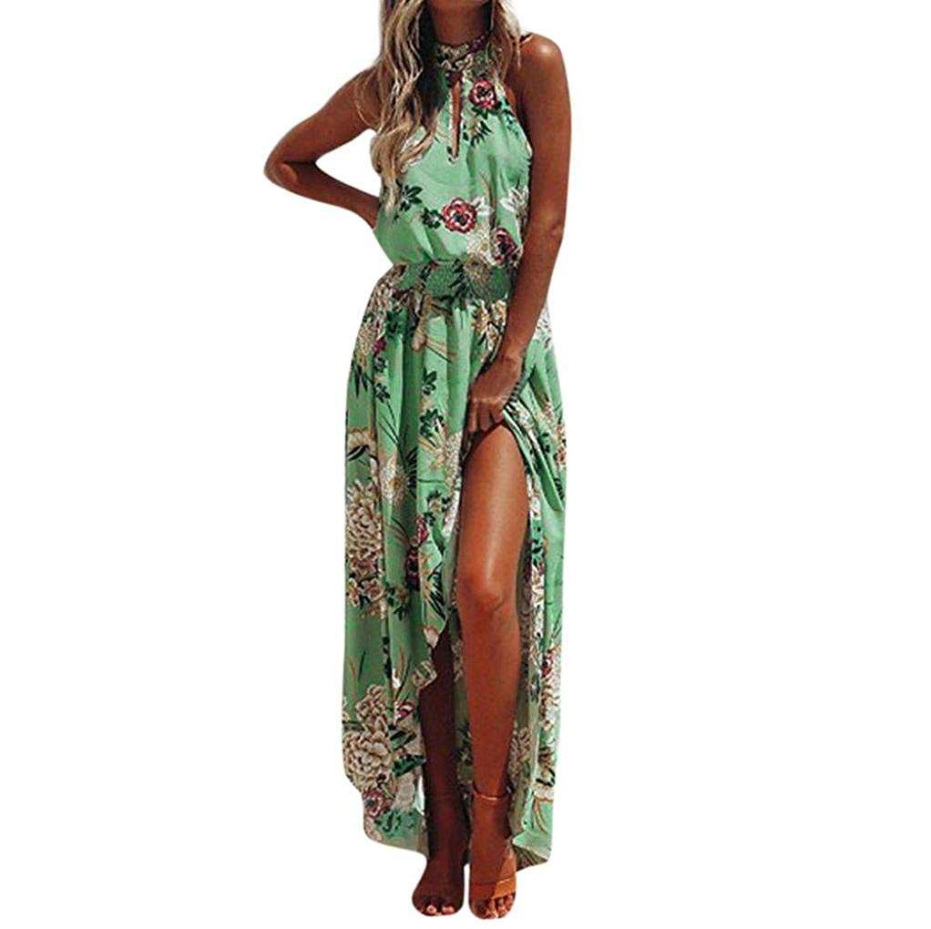 Howstar Women's Long Maxi Dresses Casual Floral Printed Pleated Dress Evening Party Summer Sleeveless Beach Dress for Ladies