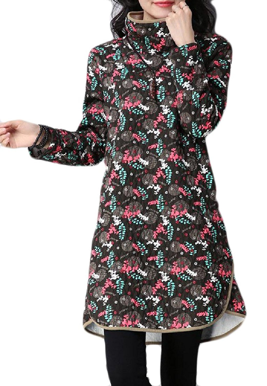 FreelyWomen Freely Womens Ethnic Velvet Quilted Plus-Size High Neck Mid Length Dress