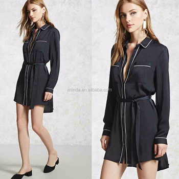 Blank T-shirt Dress Satin Belted Shirt Dress for Women Fashion Summer Long Sleeve New Dress Shirt Designs