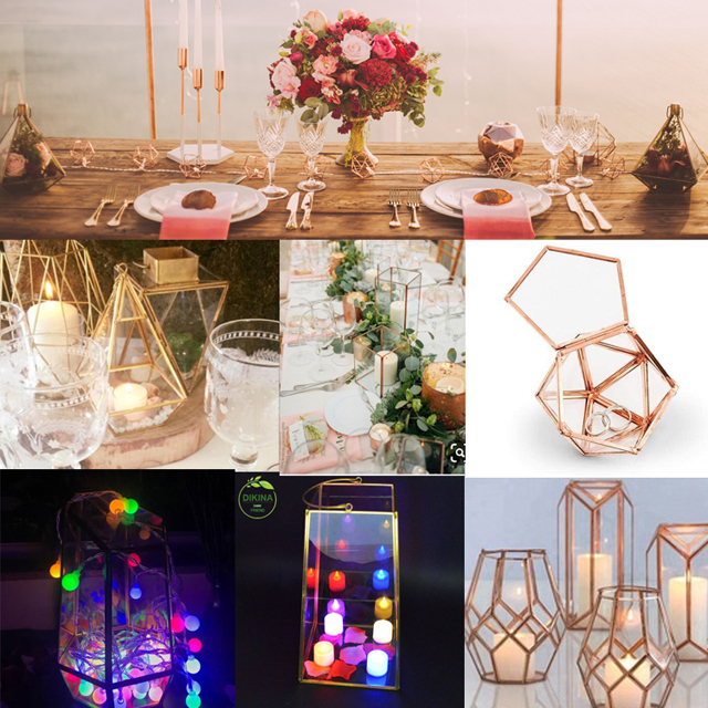 [] Wholesale geometric gold brass vase [] square glass terrarium home decor [] Wedding centerpieces crystal flower glass vase