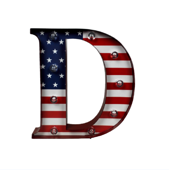 "Store More Beautiful Decorative Metal LED Lighted ""D"" Letters"