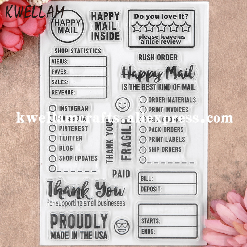 HAPPY MAIL THANK YOU Scrapbook DIY photo cards rubber stamp clear stamp  transparent stamp 11x16cm KW8053109