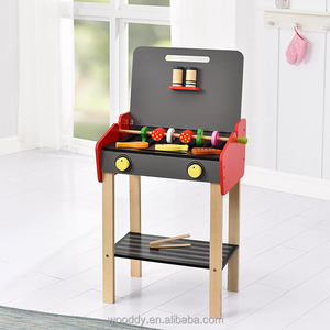 Kids Outdoor food play set wooden barbecue grill BBQ kitchen set toy