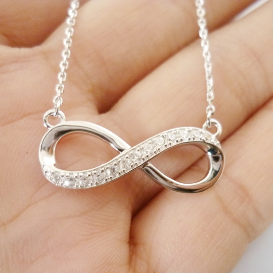 Shining 925 Sterling Silver Accent Diamond Infinity Pendant Double