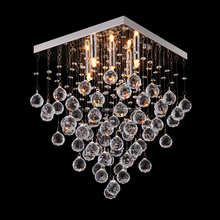 Modern Suspended Crystal Pendant Light K9 Clear Ball Crystal Glass Indoor Hotel Decor