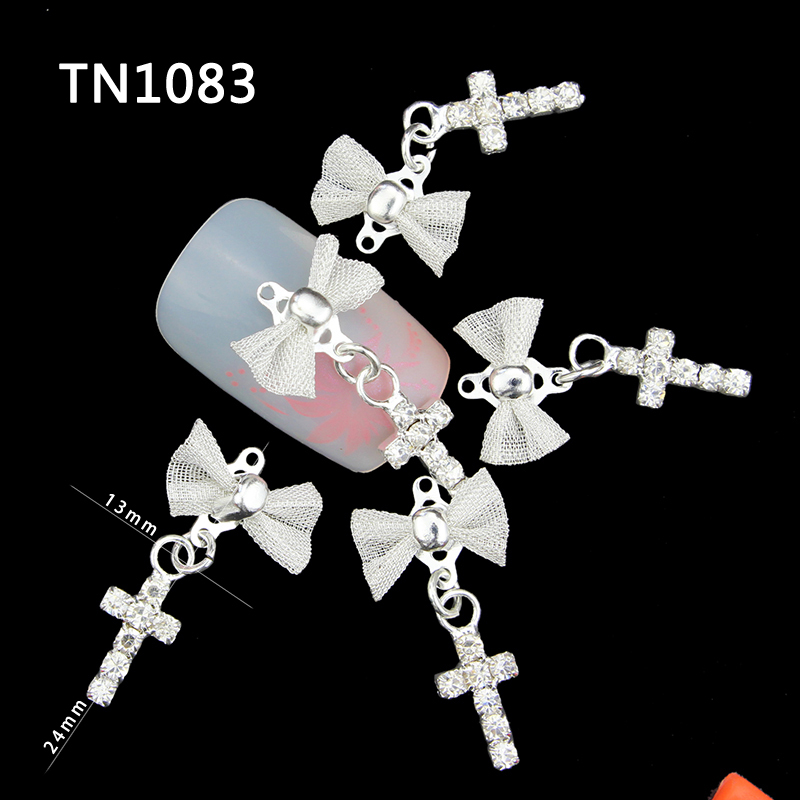 10 Pcs Glitter 3D Bow With Cross Pendants Rhinestones For Nail Art Decorations Gel Polish DIY