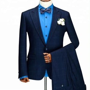 Wholesale custom 2 Piece one breasted navy blue stripped Men blazer Suits