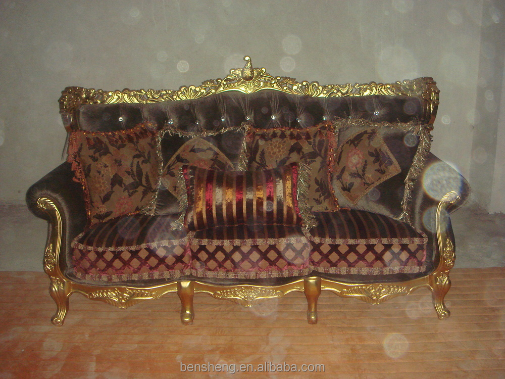 S China Furniture Hot Sale Rubber Wood Carved Furniture Gold