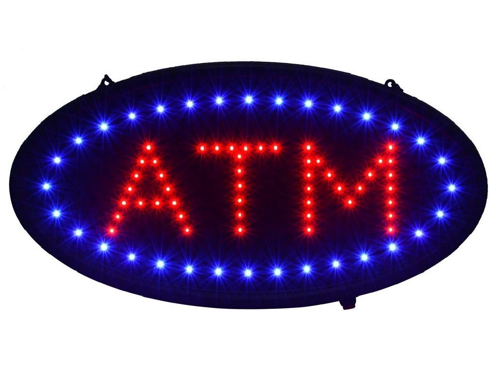 """Cherry Queen 19""""x10"""" Ultra Bright LED Neon Light Animated Motion ON/OFF ATM Machine Open Sign"""