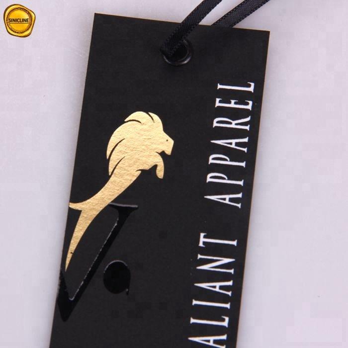 Sinicline arrival new high end may mặc treo thẻ giấy màu đen biểu tượng tùy chỉnh quần áo thẻ
