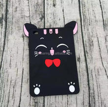 3D money cat silicone case back cover for iPad mini 1 2 3 4, Black cat case for iPad 2 3 4 Air Air 2