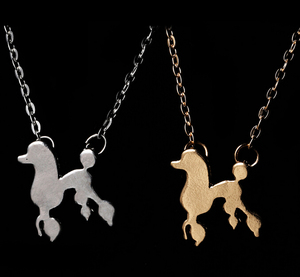 Rose gold silver Vintage cartoon poodle necklace pendent lovely doggie puppy pet necklace for dog lover gift jewelry