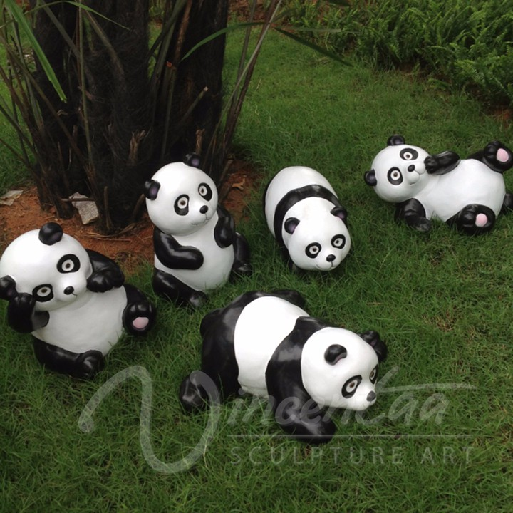 Wholesale Theme Park Decoration Resin Crafts Cartoon Animals Lively Panda  Garden Statue