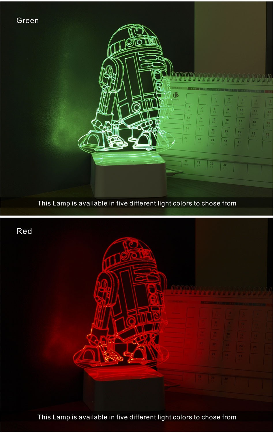CNHIDEE 3D Visual Led Night Lights for Kids Robort R2 Touch Table Lampara as Besides Lampe for Star war Fans (4)