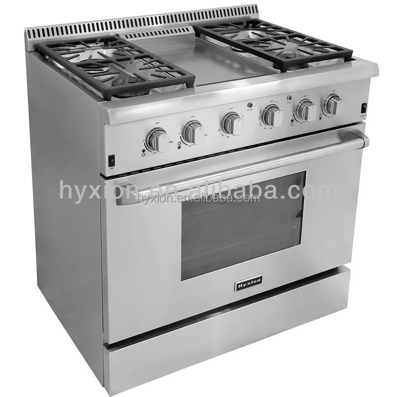 High End Luxury Kitchen Gas Cooking Range With Grddle Top Hrg3609u Oven Commercial Cooker 80cm Product On