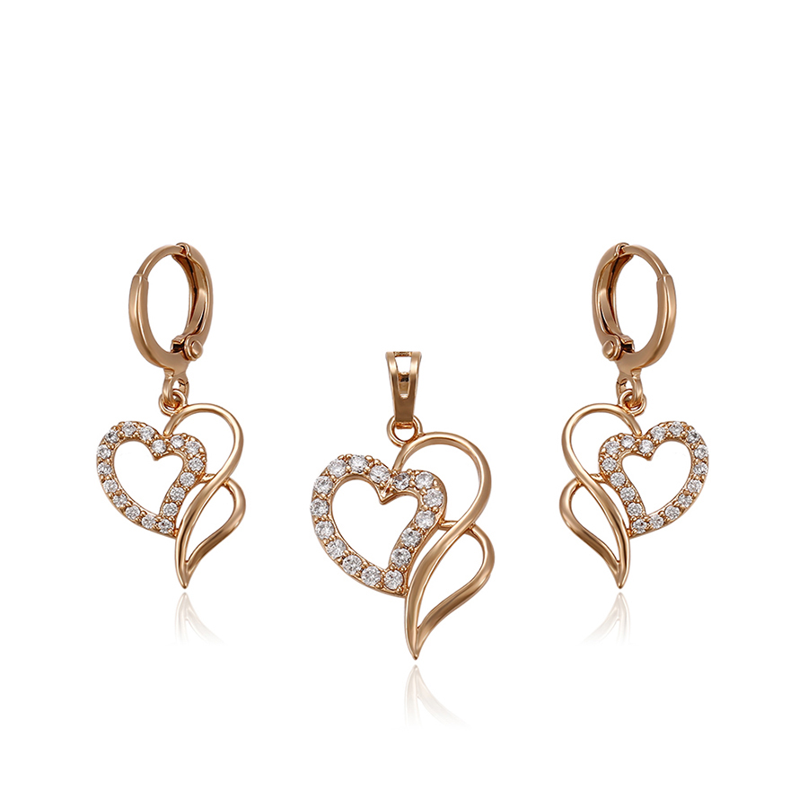 64181 Xuping new arrival top quality noble 18k gold jewelry sets fancy heart shape two pieces sets