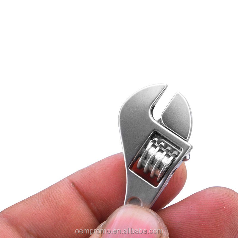 Promotional Engraved zinc alloy mini wrench keychain