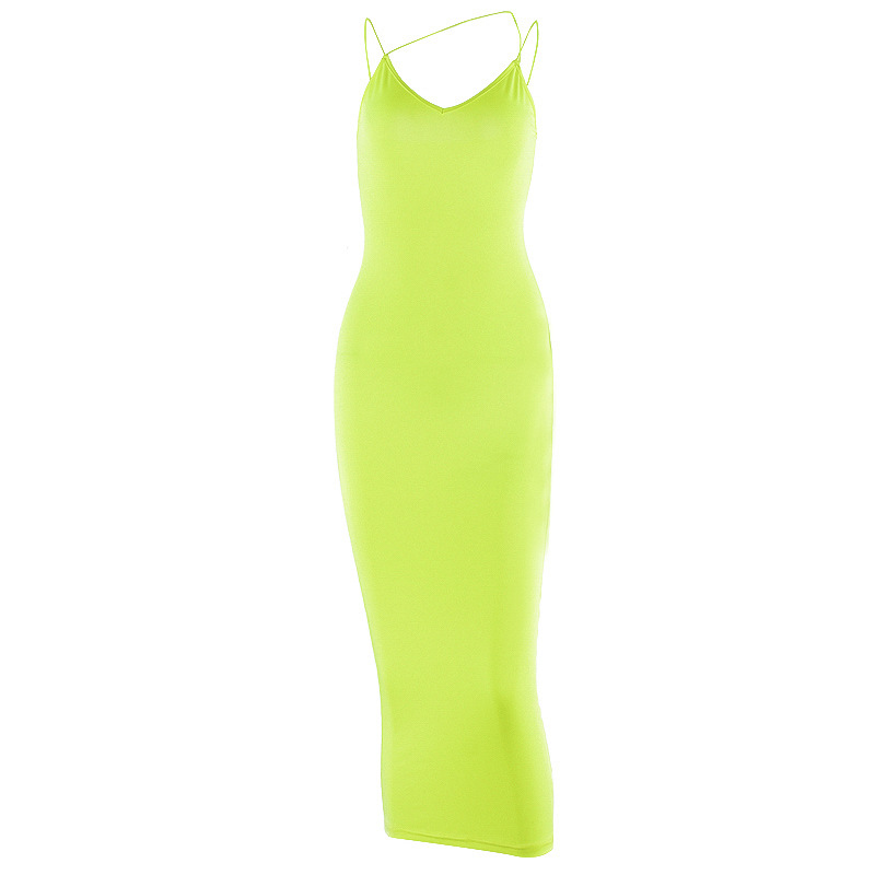 Neon Yellow Orange Sexy Summer Maxi <strong>Dress</strong> Spaghetti Strap Deep V Backless Tight Bodycon <strong>Dresses</strong> for Woman