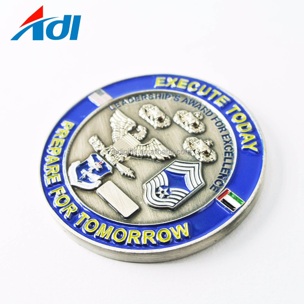 2018 China manufacturer custom soft enamel old metal brass 3d medallion challenge coins