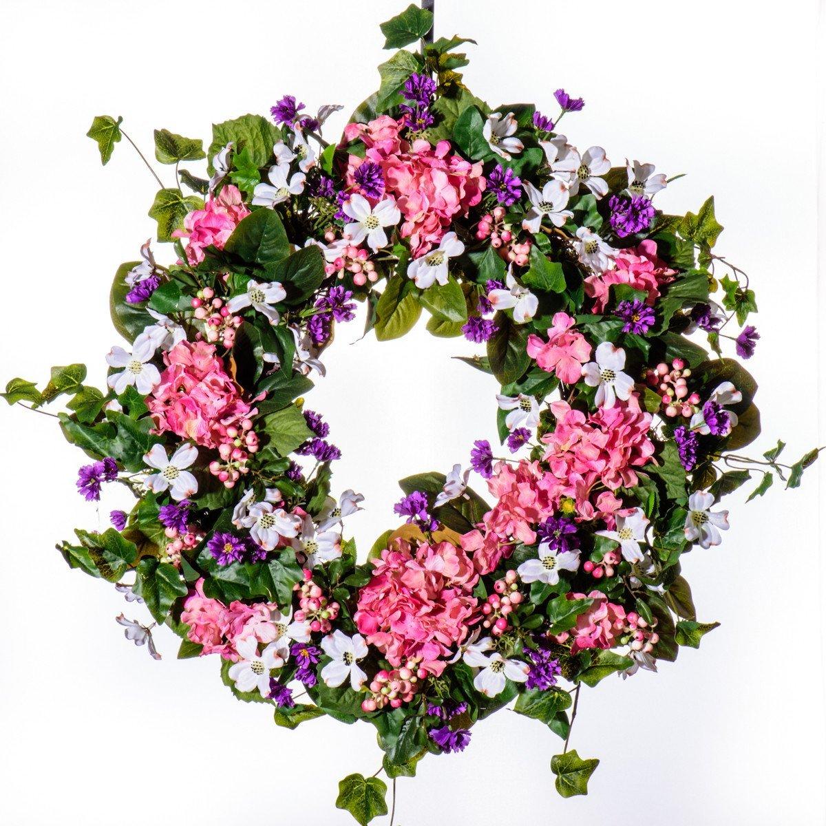 Buy Hydrangea Cornflower Dogwood Silk Wreath Sw922 Summer