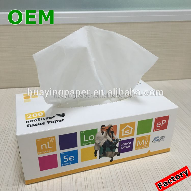 Factory OEM box facial tissue , ultra soft facial tissue paper 100% virgin wood pulp