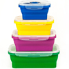 Food grade silicone folding collapsible bento lunch boxes For Outdoor with porosity PP packing gland