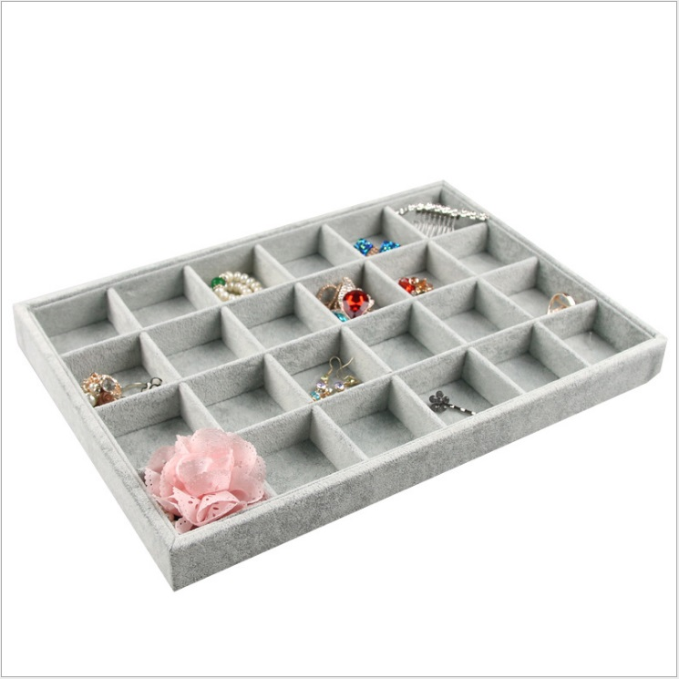 24 Gray Velvet Professional Wholesale Ornament Jewelry Display Compartment Organizer Tray