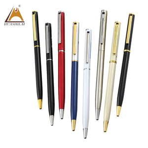2018 China Factory Wholesale Cheap Promotion Assorted Color Custom Cross Thin Metal Twist Action Slim Ball Pen for Hotel