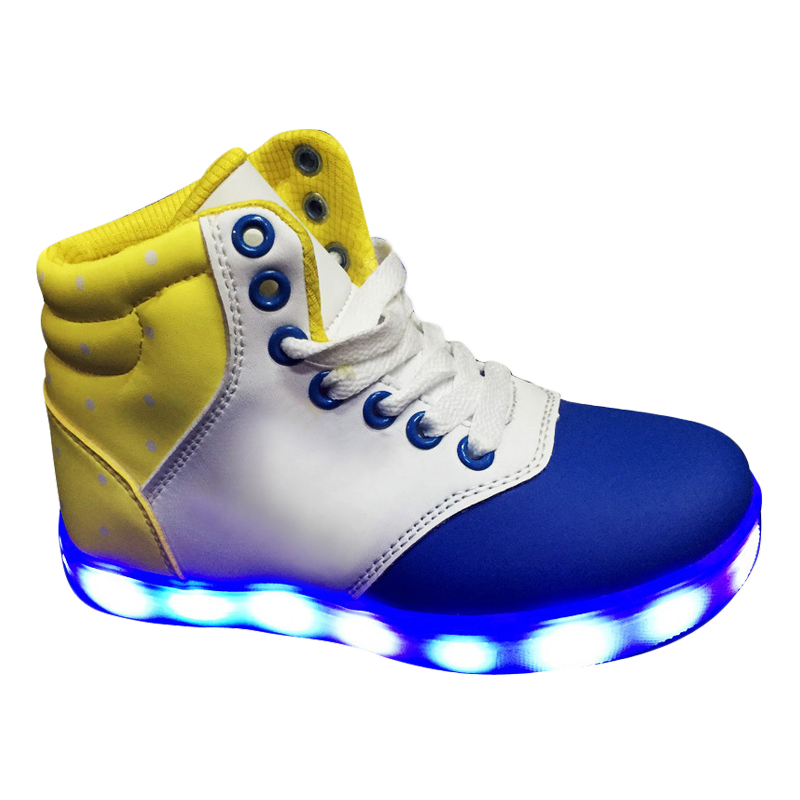 Child fluorescent led fashion sneakers top flash high night wnvOwIx8qr