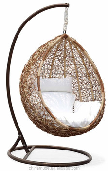 Charmant Luxury Indoor/ Patio Garden Rattan Egg Shaped One Person Seat Hanging Swing  Chair With Cushion