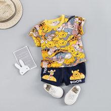 Лидер продаж, комплекты одежды для маленьких мальчиков, брендовая летняя одежда с мультяшным медведем для мальчиков и девочек, Детский комп...(Китай)