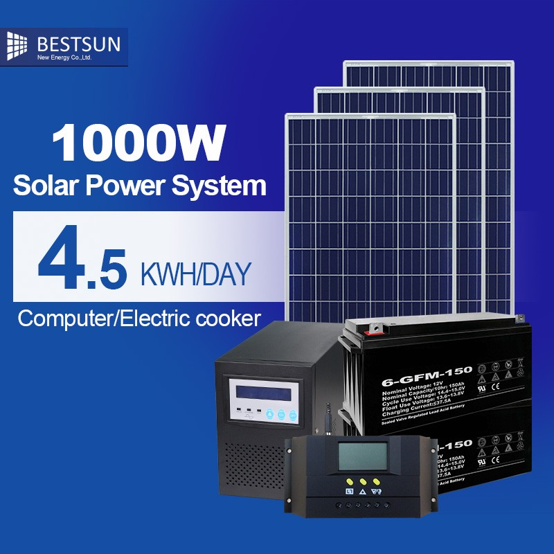 Bestsun 1kw solar system standard configuration with battery for home