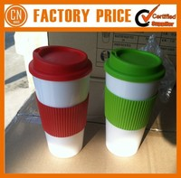 Custom Printed Double Wall PP Plastic Coffee Mug With Lid And Silicon Cover