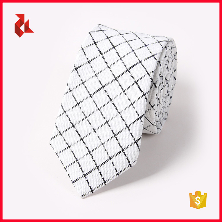 High Quality 100% Cotton Jacquard Checked Neck Ties for Men