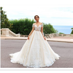 8196fe7e398 New design elegant saudi arabia long sleeves lace appliques wedding dress  vestidos de novias ball gown