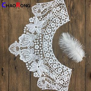 CRN15606 white variety of flowers polyester embroidery neck lace