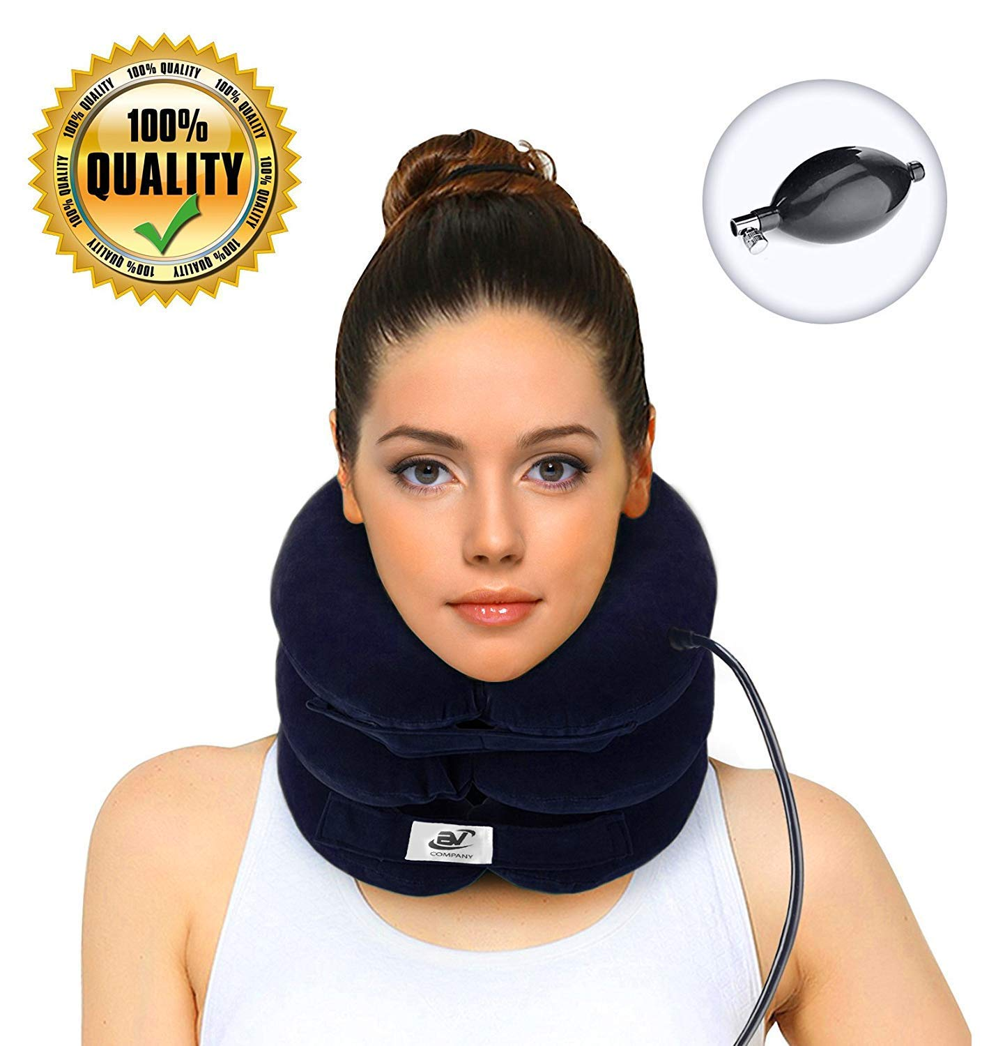 Hodilu Cervical Neck Traction Device – Improve Spine Alignment to Reduce Neck Pain – Cervical Pillow with Collar Adjustable | Bonus Extra Pump