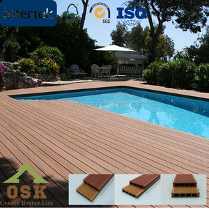 Natural fibers and plastic HDPE anti-slip outdoor wpc decking floor