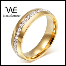 Korean Fashion Jewelry Wholesale Female Stainless Steel Crystal Ladies Finger 18K Gold Ring Design