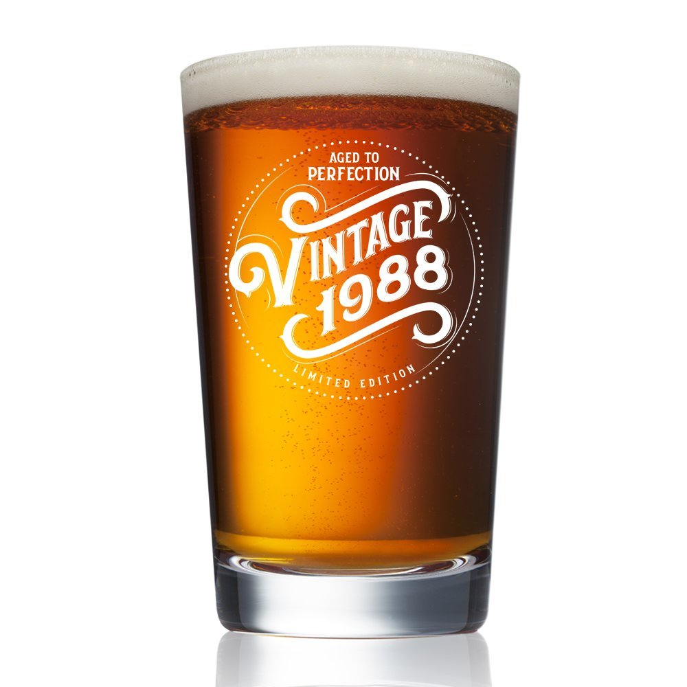 1988 30th Birthday Gifts For Men And Women Beer Glass