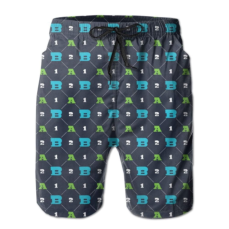Digital A B 1 2 Printing Summer Casual Style Adjustable Beach Home Sport Shorts
