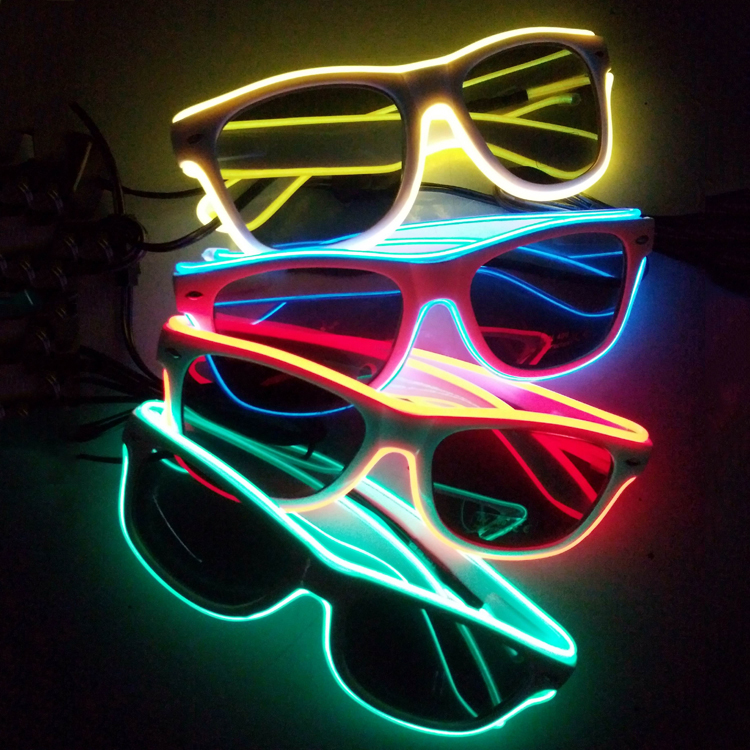Wholesale 50pcs El Wire Glowing Glasses With Black Lens Glow Party Supplies With Dc-3v Steady On Inverter Home & Garden Festive & Party Supplies