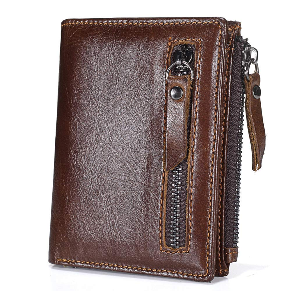 LWYJ Mens Genuine Leather Clutch Bag Handbag,Leather Wallet Men Wallet,Business Men Wallet Vintage Brown Cowhide Men Clutch Bag,Double Zipper Coin Pocket Purse For Male