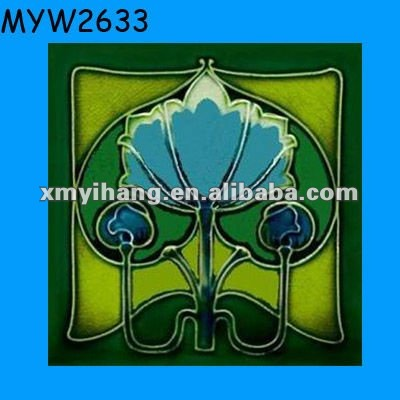 Green ceramic decal printed ceramic flooring tile