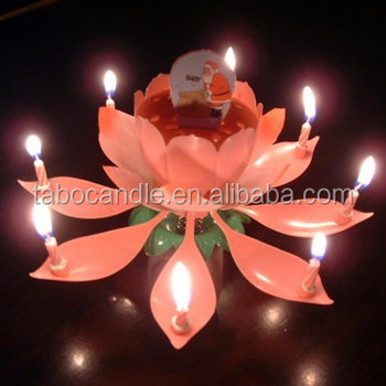 Beautiful Musical Blossom Lotus Flowers Happy Birthday Candles