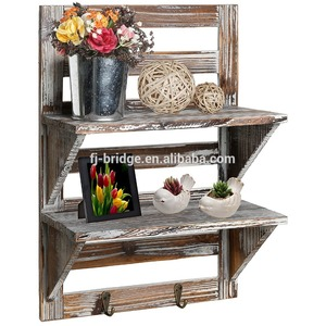 Wood Wall Mounted Organizer Shelves 2 Hooks 2-Tier Storage Rack