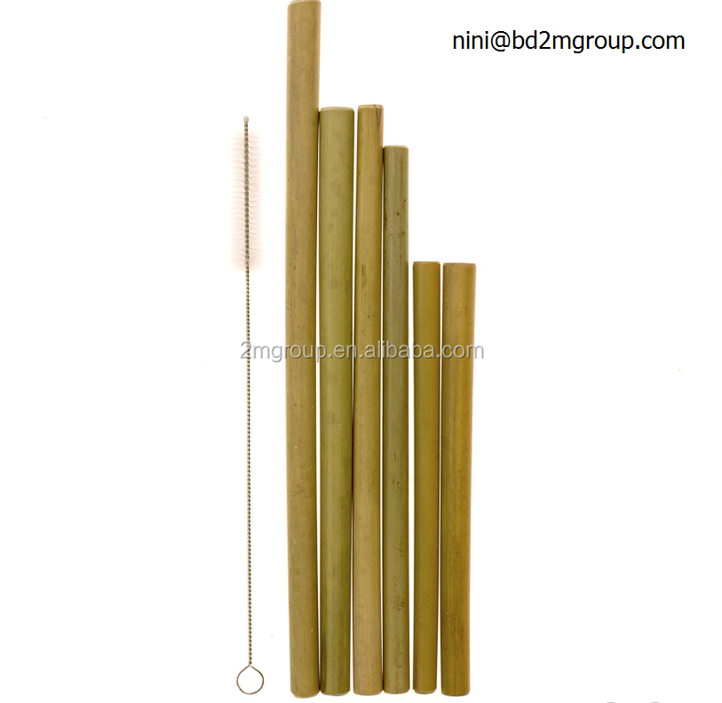 different length size bamboo straw for drinking of juice and smoothie with cleaning brush
